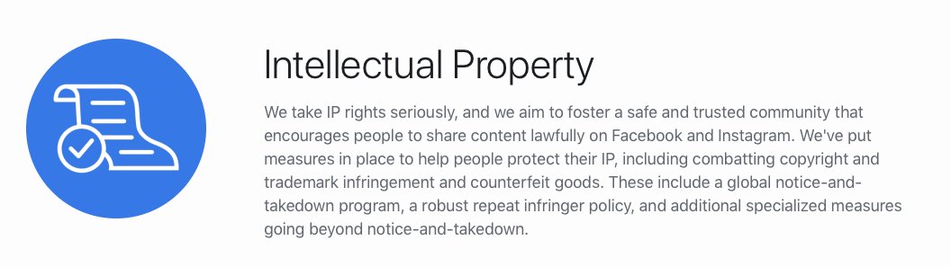 Facebook's intellectual property statement