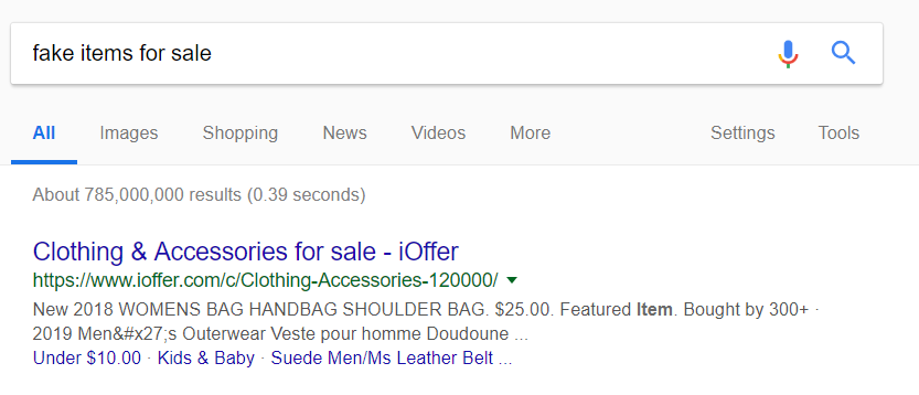 ioffer appearing on Google search for fake items for sale